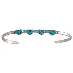 Jewelry - Native Sterling Silver Turquoise Heart Bracelet